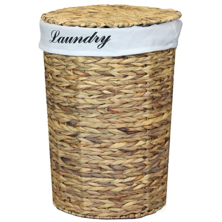15 Inch Laundry Pedestal (Natural Water Hyacinth Wicker Round Laundry Hamper with Removable Linen Liner and Lid, 21 Inch )