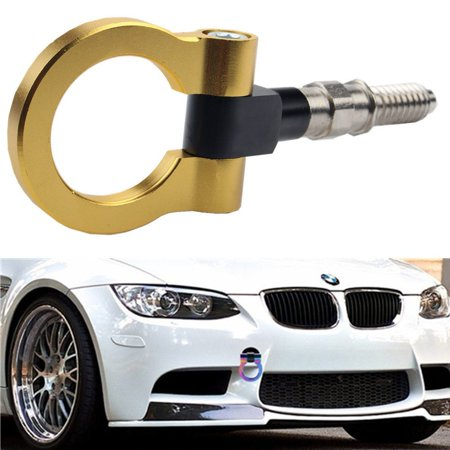 Bmw Tow Hook - DEWHEL JDM Aluminum Track Racing Front Rear Bumper Car Accessory Auto Trailer Ring Eye Towing Tow Hook Kit Gold Screw On For BMW 1 3 5 Series X5 X6 E36 E39 E46 E82 E90 E91 E92 E93 E70 E71 MINI Cooper
