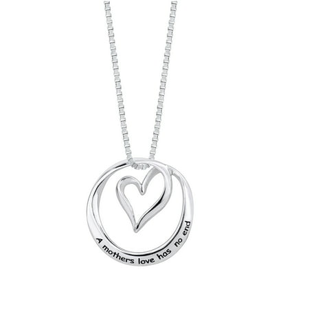 "Sterling Silver ""A Mothers Love Has No End"" Open Heart Circle Pendant Necklace, 18"""