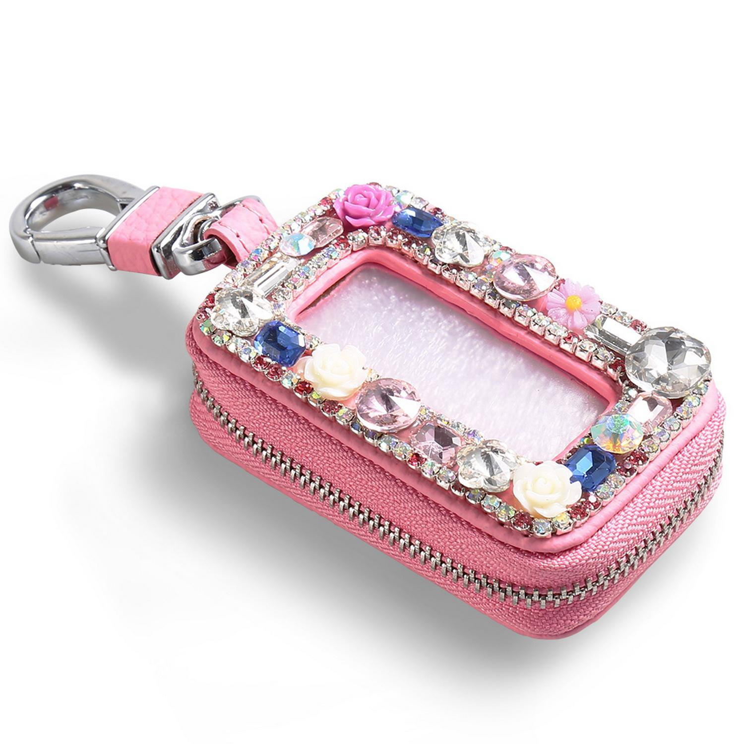 Car Key Holder Black Car Key Case Chain key Cover Coin Holder Keyring Wallet Zipper Rhinestone Bag DEAML