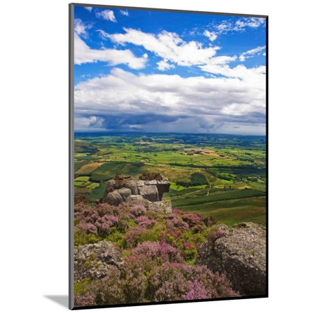 Pastoral Fields from Above Coumshingaun Lake, Comeragh Mountains, County Waterford, Ireland Wood Mounted Print Wall Art - Waterford Lakes Party City