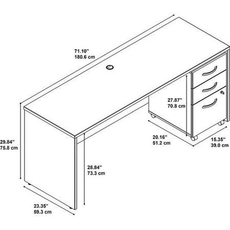 "Bush Business Series C 72"" Credenza Desk with Pedestal in Mahogany - image 1 de 7"