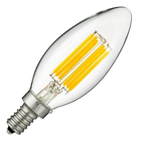 Sunlite 80445 - 5 watt 220/277 volt C11 Candelabra Screw Base 2700K Nostalgic LED (CTC/LED/AQ/5W/E12/DIM/CL/27K #80445-SU)