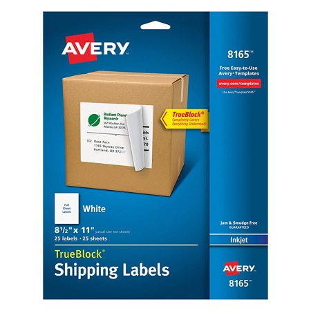 Shipping Address Labels, Inkjet Printers, 25 Labels, Full Sheet Labels, Permanent Adhesive, TrueBlock (8165) Avery
