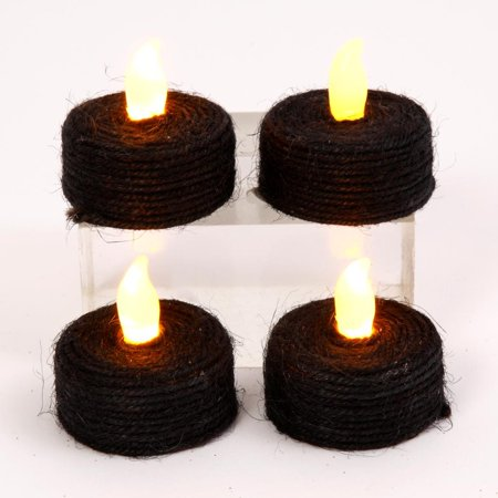 Gerson 41039 - Black Rope Wrap Battery Operated LED Tea Light with Timer (4 pack) (Battery Operated Black Lights)