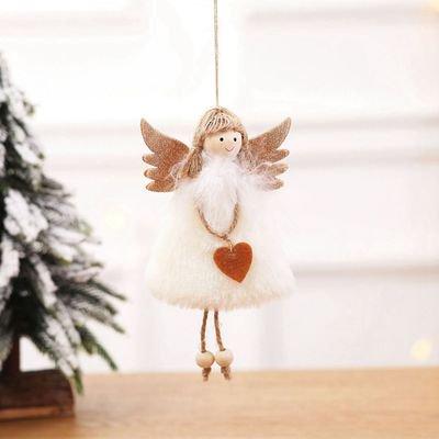 KABOER New Christmas Decoration Pendant Christmas Cute Love Plush Feather Angel Christmas Tree Creative Hanging ()