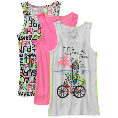Faded Glory Girls' Assorted Tanks, 3-Pack