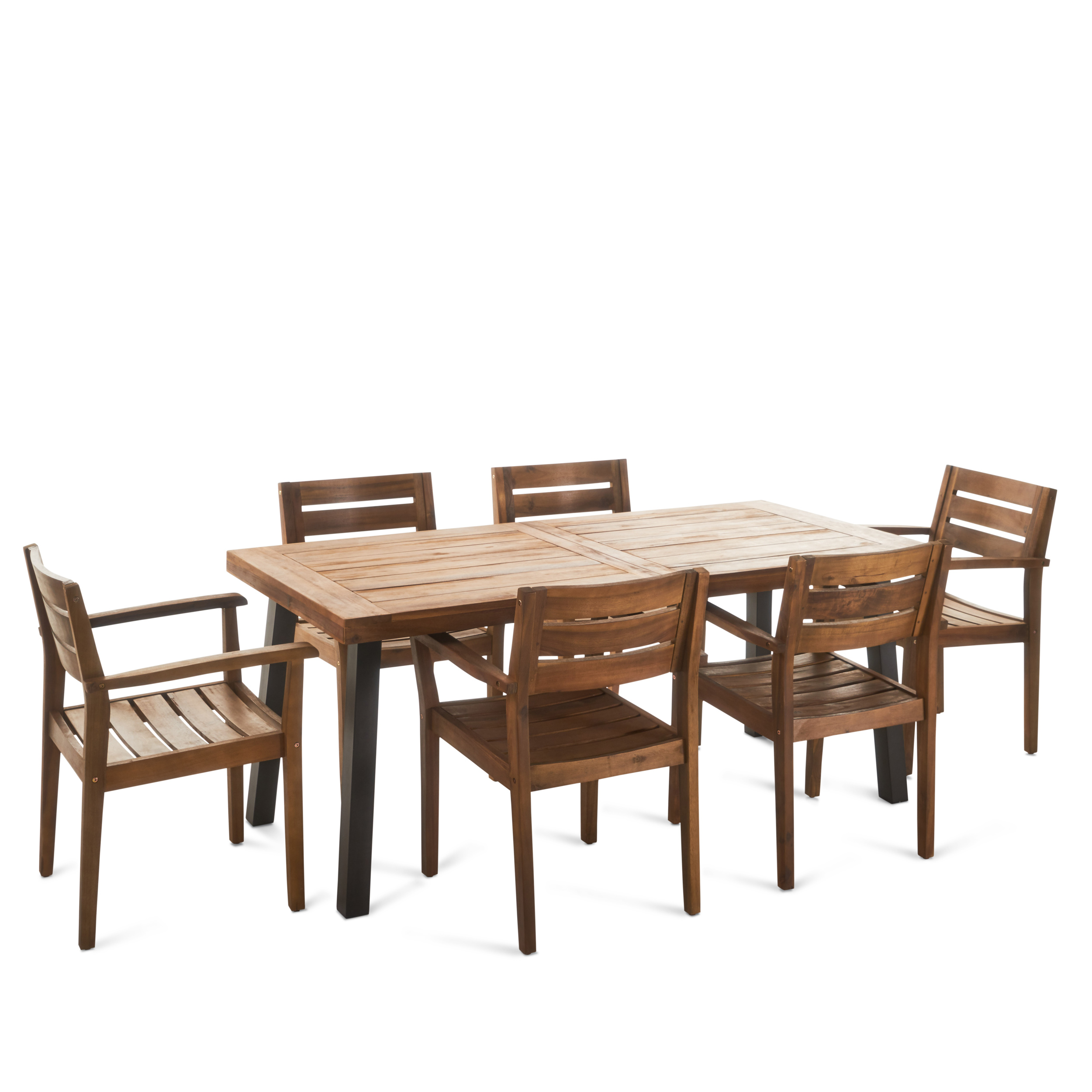 Avalon Outdoor 7 Piece Acacia Wood Dining Set with Rustic Metal Accents on the Table, Teak Finish