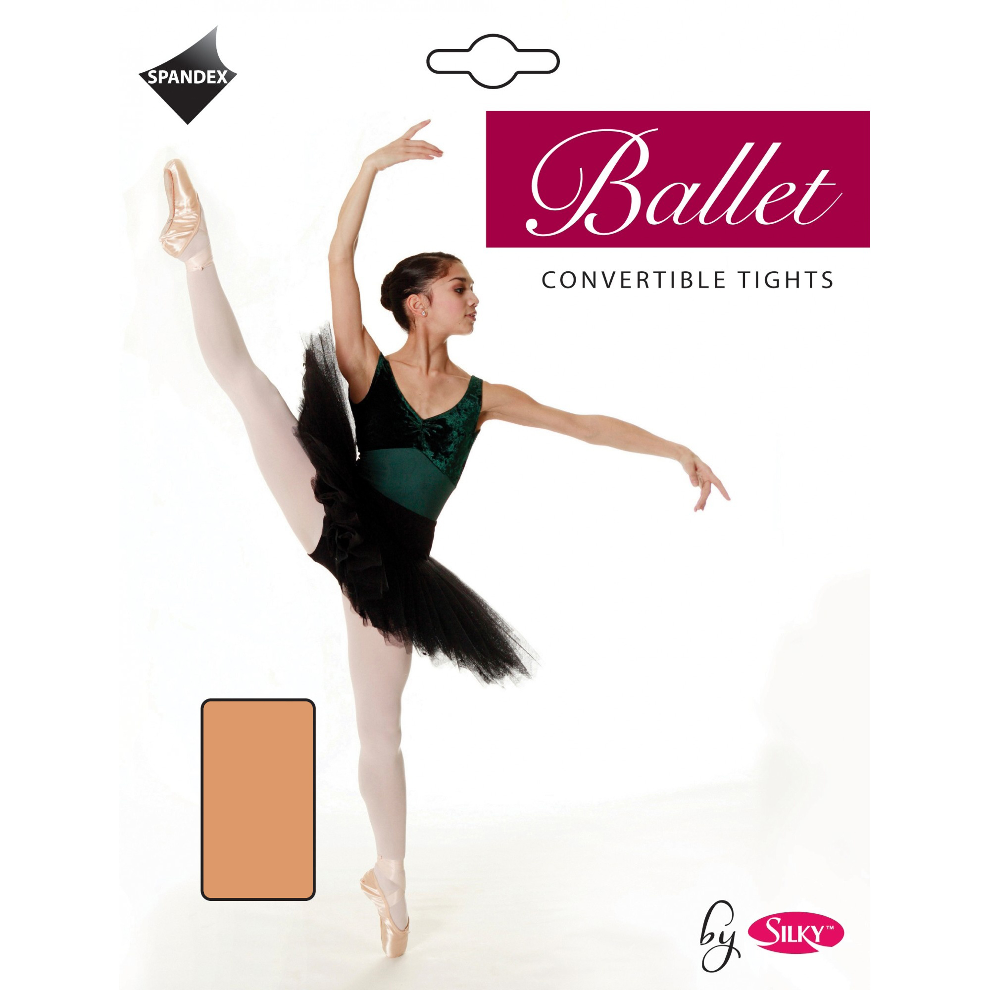 Childrens Tan Age 3//5 yrs Silky Full Foot Spandex Ballet Dance Tights