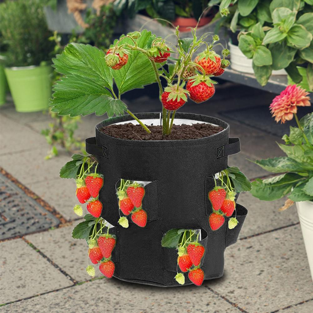 Strawberry Upside Down Flower Pot Vegetable Ventilation Plant Pot Container Indoor Outdoor Gardening Plant Bag ADSRO 10 Gallon Gardening Planting Bag