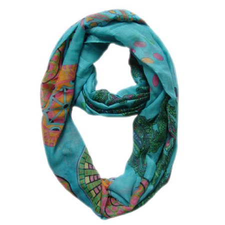 Peach Couture Vivid & Lively Lightweight Paisley Damask Infinity Loop Scarf
