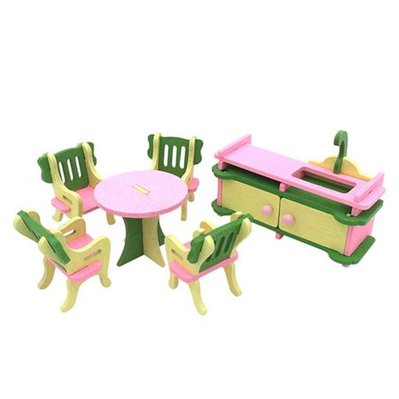 Boyijia Simulation Baby Wooden Toys Miniature Furniture House Set Room Kitchen Table Playthings for Children Kids - image 3 of 4