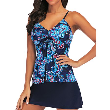 Summer Tankini Set Bathing Suit Two Piece Swimwear for Women Floral Vest Top+ Swim Skirt M-XXL  Tummy Control Swimdress