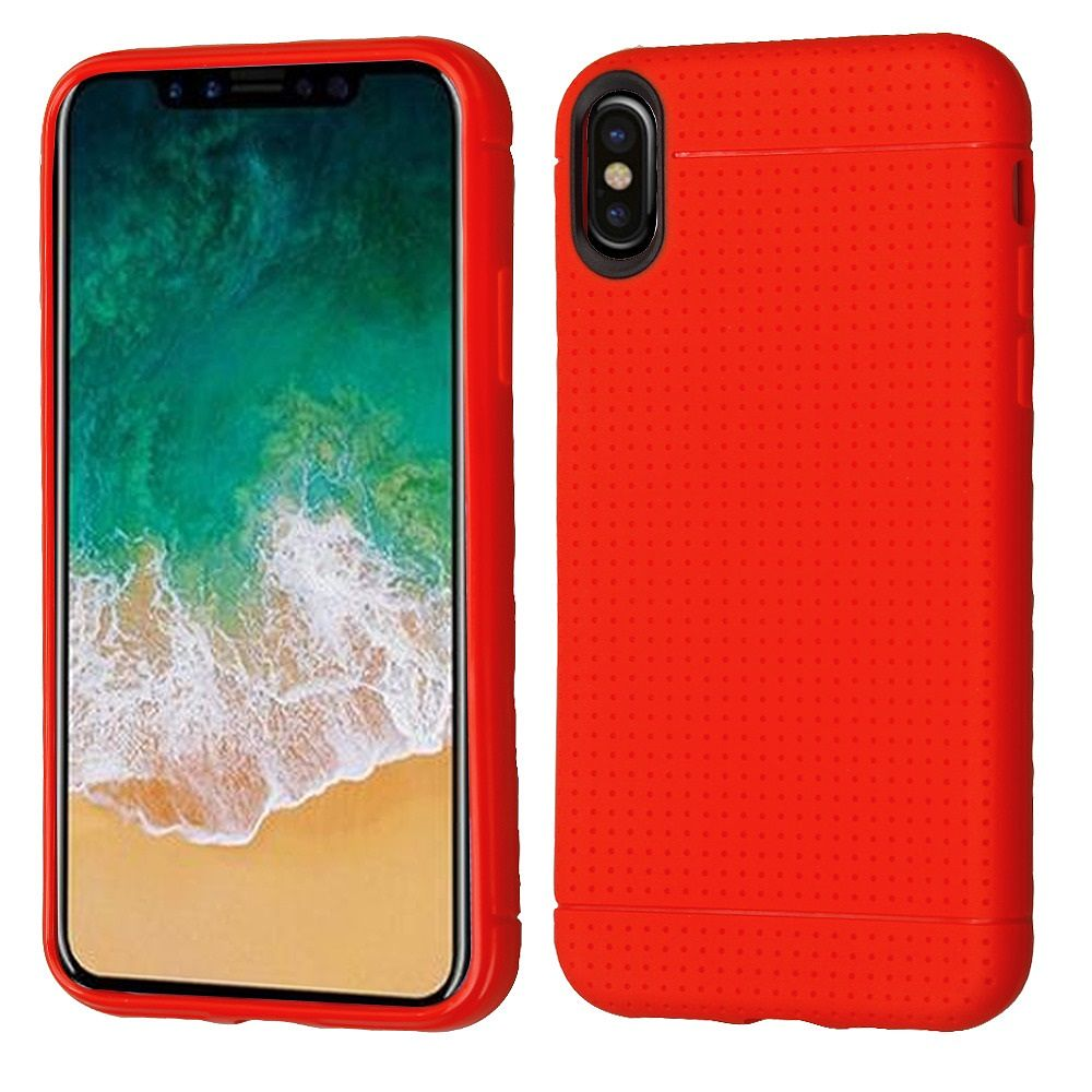 "iPhone X Case, iPhone X Edition Case, by Insten TPU Rubber Lattice Points Candy Skin Case Cover for Apple iPhone X edition 5.8"" (2017) - Red (Bundle with Tempered Glass Screen Protector)"
