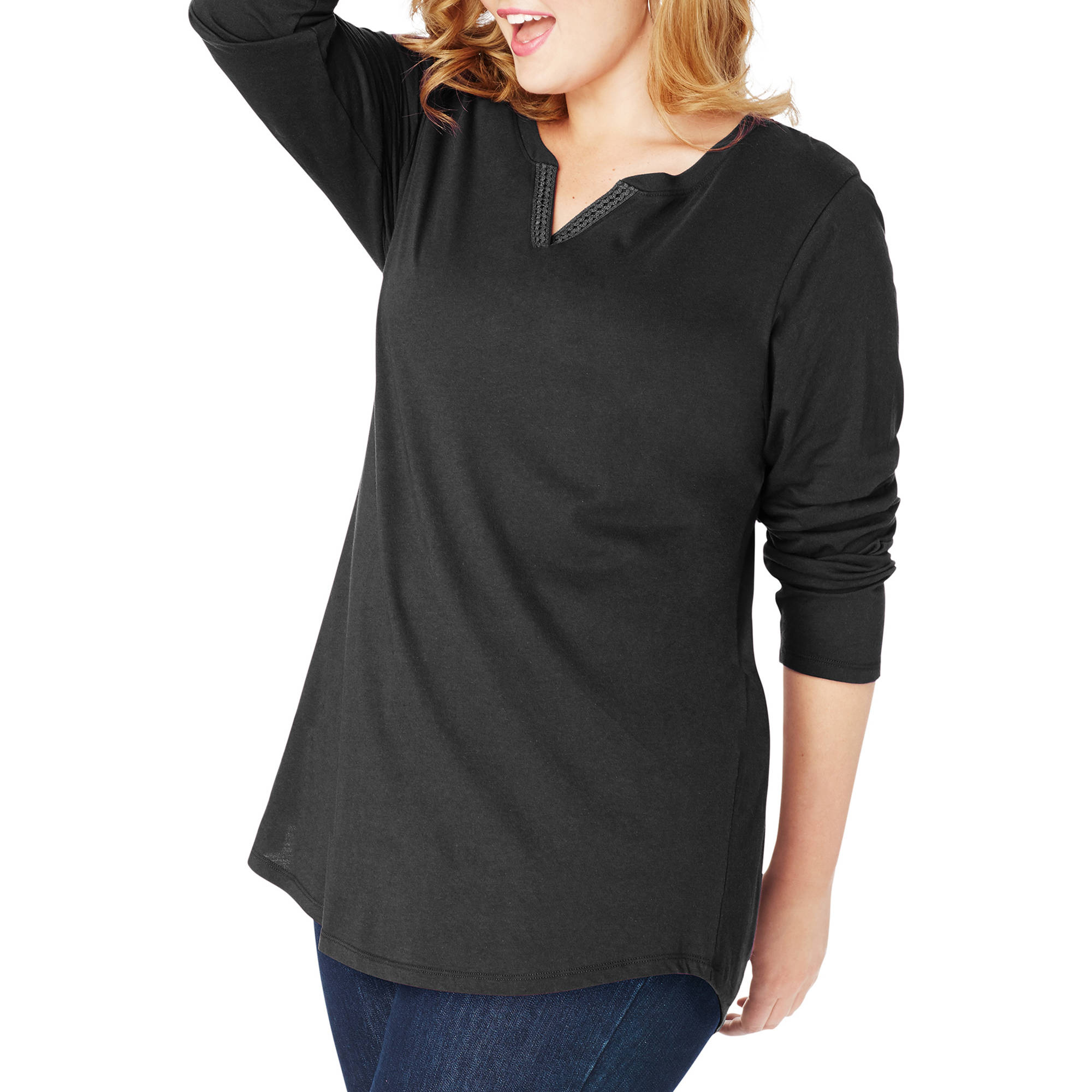 Plus-Size Women's Lightweight Split V-neck Tunic