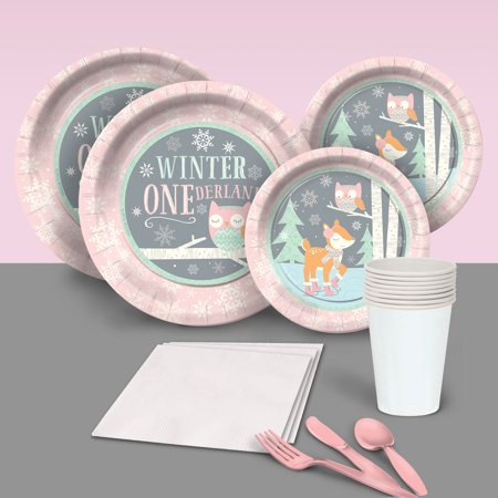 Winter Party Supplies (Pink Winter One-derland Party Pack for)
