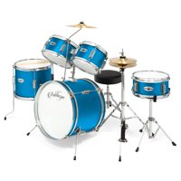 "Ashthorpe 5-Piece Complete Kid's Junior Drum Set with Genuine Brass Cymbals - Children's Advanced Beginner Kit with 16"" Bass, Adjustable Throne, Cymbals, Hi-Hats, Pedals & Drumsticks - Multiple Colors"