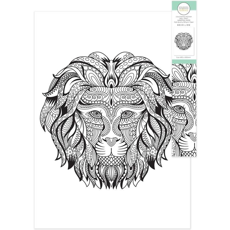 """Kaisercolour Coloring Poster In Tube 19.5""""x27""""-boho Lion - Case Pack Of 5"""