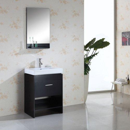 Virtu USA Gloria 24-in. Espresso Single Bathroom Vanity Set MS-550