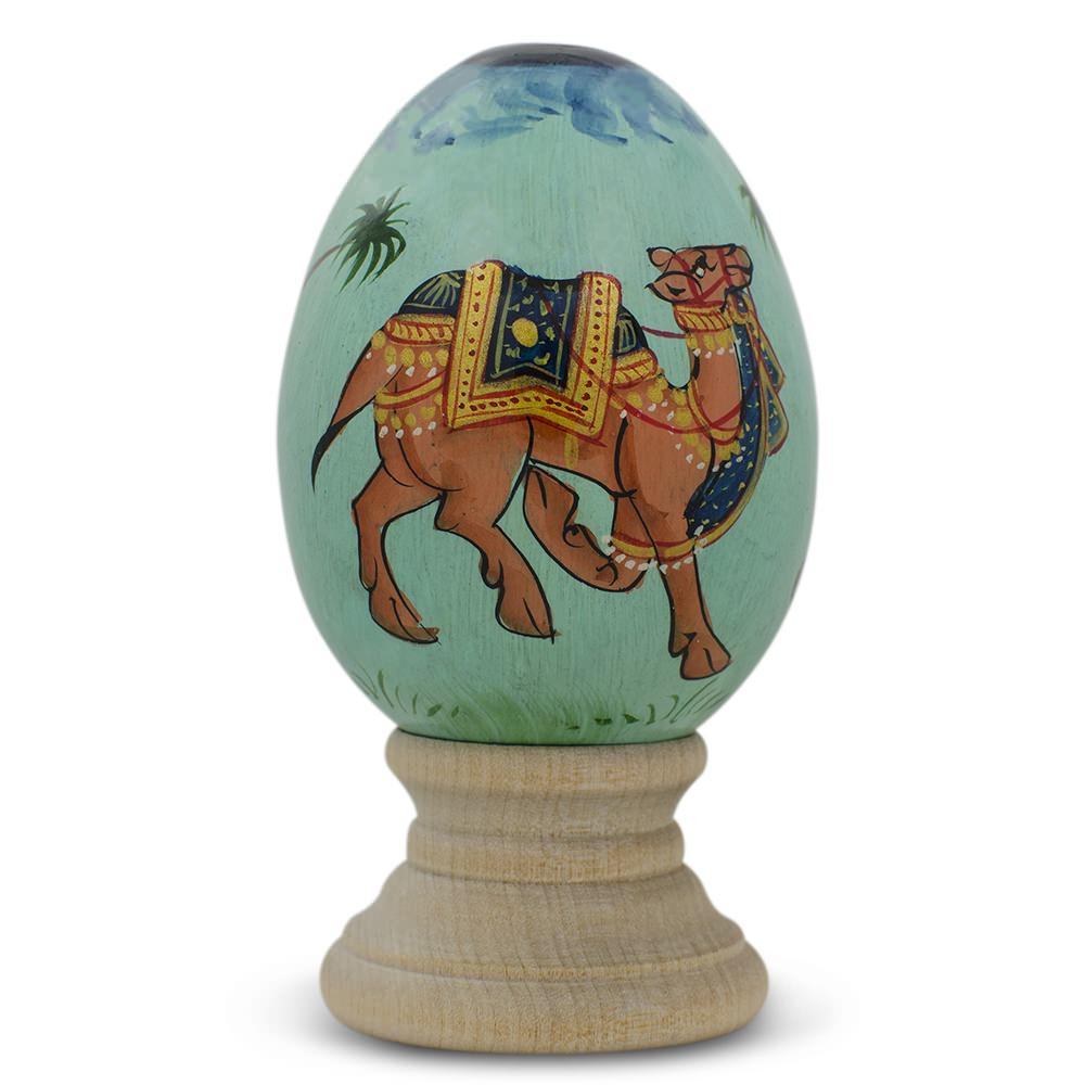 "3"" Oriental Royal Camel Wooden Easter Egg"