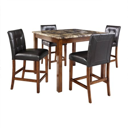 Faux Marble Flooring - Dorel Living Andover 5-Piece Faux Marble Counter Height Dining Set, Multiple Colors