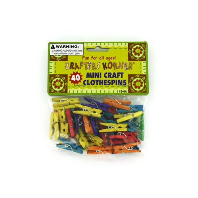 Kole Imports CC058-96 1 x 0.12 x 0.37 in. Miniature Colored Craft Clothespins - Pack of 96