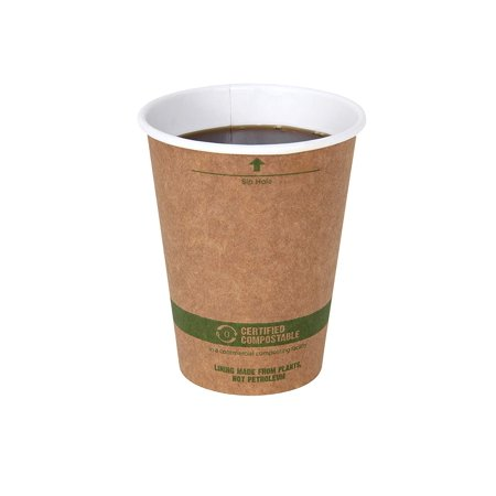 9 Ounce Coffee Cup - World Centric 100% Biodegradable, Paper 12 Ounce Kraft Coffee Hot Cup, 100 Pack