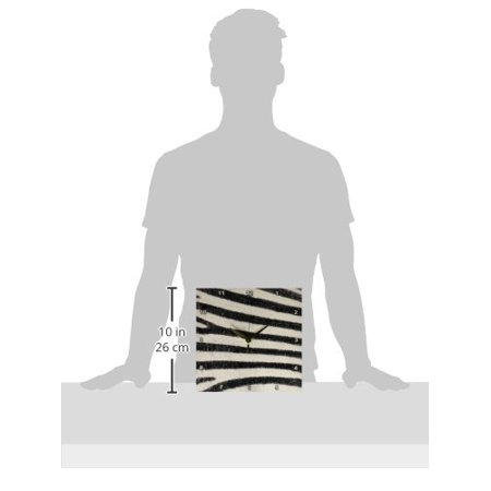 10 Inch Rally Stripes - 3dRose Zebra Horizontal Stripes, Wall Clock, 10 by 10-inch