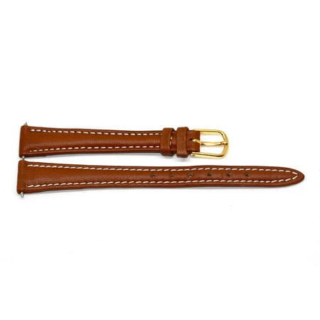 - 12MM BROWN STITCHED TAPERED COWHIDE GENUINE LEATHER WATCH BAND STRAP