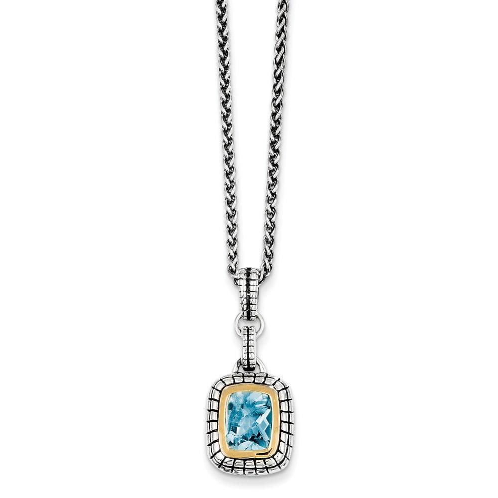Sterling Silver 1.74ct 14K Gold 1.74 Swiss Blue Topaz Vintage Style Necklace