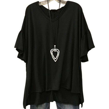 Plus Size Women Loose Short Sleeve T-Shirt V-Neck Casual Tops
