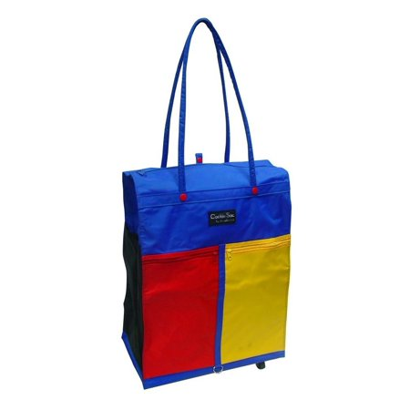 Goodhope Colorful Shopping Tote with 4 Wheels Blue [Set of 2], This fun, colorful tote has 4 swivel wheels at the bottom. Two colorful zip pockets in front & one open pocket on the side