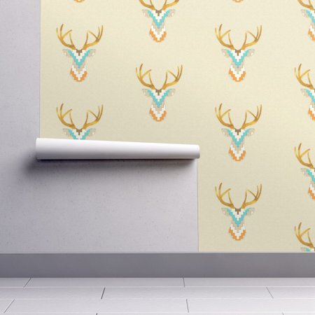 Peel and Stick Removable Wallpaper Tribal Deer Southwestern Aztec Chev