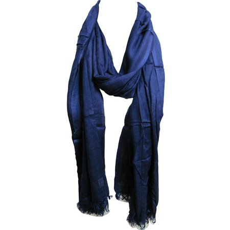 - Soft Silky Lightweight Royal Blue with Metal Beads Trendy Fashion Long Scarf JK327