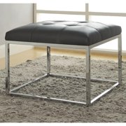 A Line Furniture Keser Chrome Sleek Design Upholstered Accent Bench Ottoman