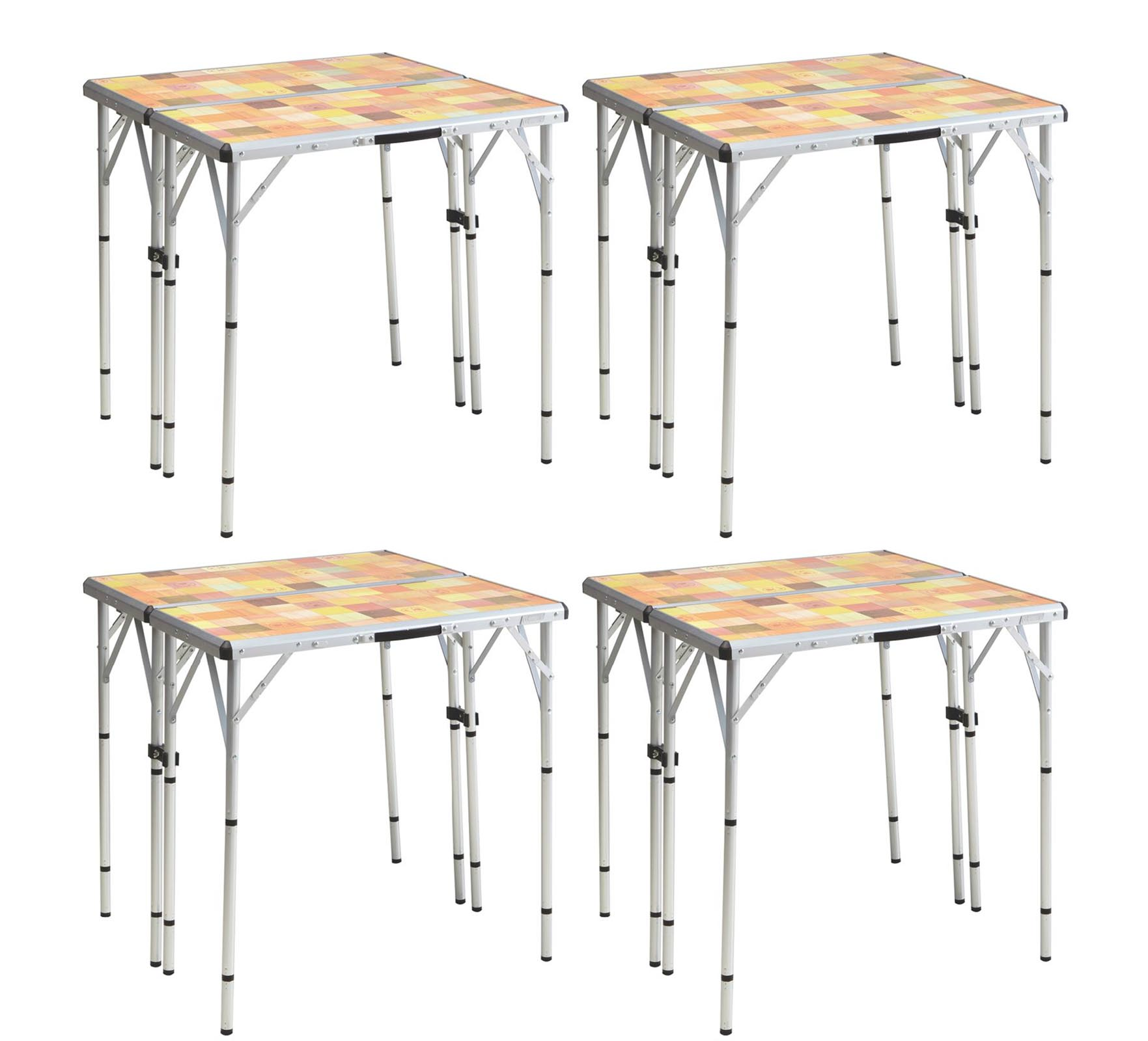(4) COLEMAN Pack-Away 4-in-1 Portable Mosaic Camping Tailgating Picnic Tables by