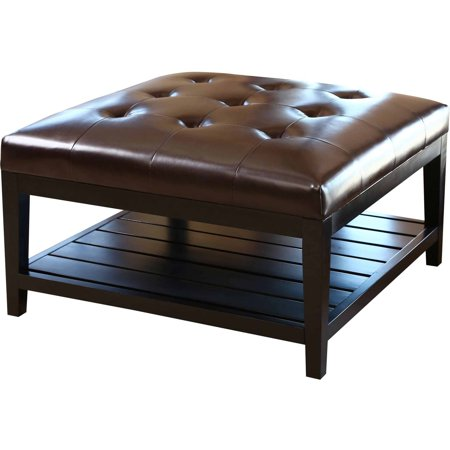Devon claire trafford dark brown leather square coffee table ottoman Dark brown leather ottoman coffee table