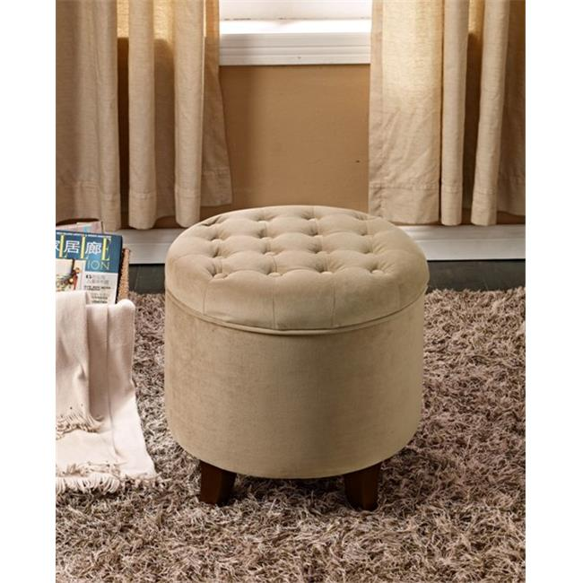 Comfortly K6171-B117 Large Round Button-tufted Storage Ottoman
