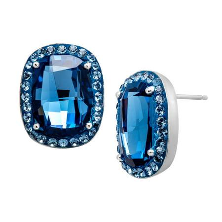 Crystaluxe Stud Earrings With Denim Blue Swarovski Crystals In Sterling Silver