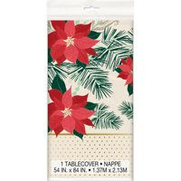 Red and Gold Poinsettia Christmas Plastic Party Tablecloth, 84 x 54in