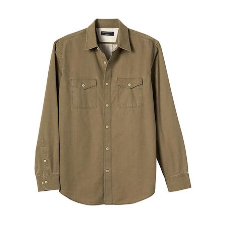 New  3767-2 Banana Republic Mens Standard-Fit Slub Cotton Work Shirt Olive, M, $64.99