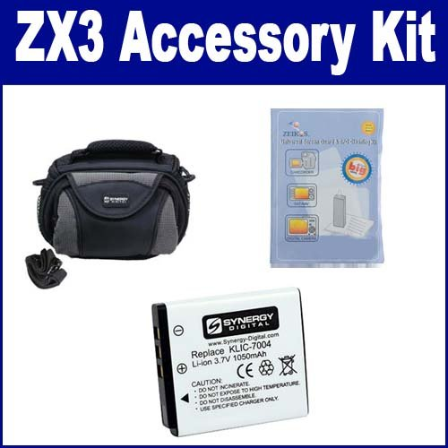 Kodak PlaySport Zx3 Camcorder Accessory Kit includes: ZELCKSG Care & Cleaning, SDKLIC7004 Battery, SDC-26 Case
