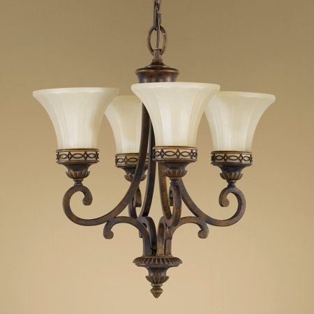 Feiss F2221/4WAL Drawing Room Mini Duo Chandelier - 18W in. (4wal Walnut Drawing Room)