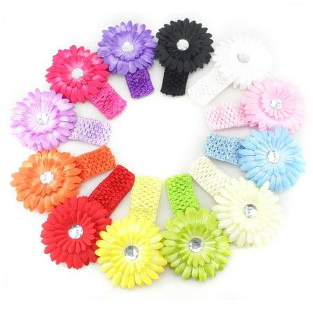 12pcs Different Colors Sweet Infant Baby Girls Daisy Flower Clip Elastic Crochet Hairbands Headband Hair Clips Headwear Photo Props