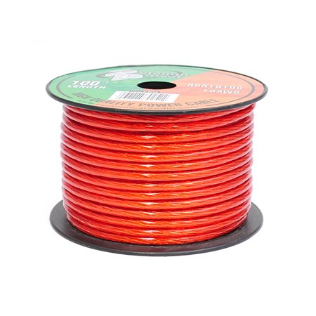 PYRAMID RPR10100 - 10 Gauge Clear Red Power Wire 100 ft.