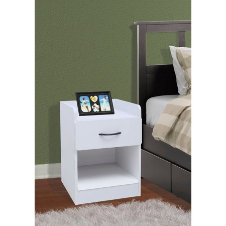Haifa White Wood Contemporary Nightstand Bedside Table With 1 Drawer & Storage Shelf ()