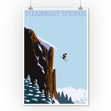 Steamboat Springs, Colorado - Skier Jumping - Lantern Press Artwork (9x12 Art Print, Wall Decor Travel