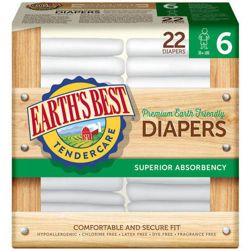 Earth's Best - TenderCare Chlorine-Free Diapers, Size 6, 22 count