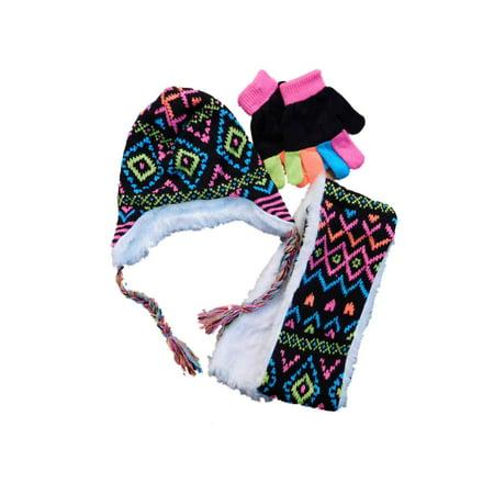 Toby N.Y.C. - Toby N.Y.C. Girls Black Diamond 3 PC Faux Fur Peruvian  Trapper Hat Scarf Gloves - Walmart.com 9f737f6c871