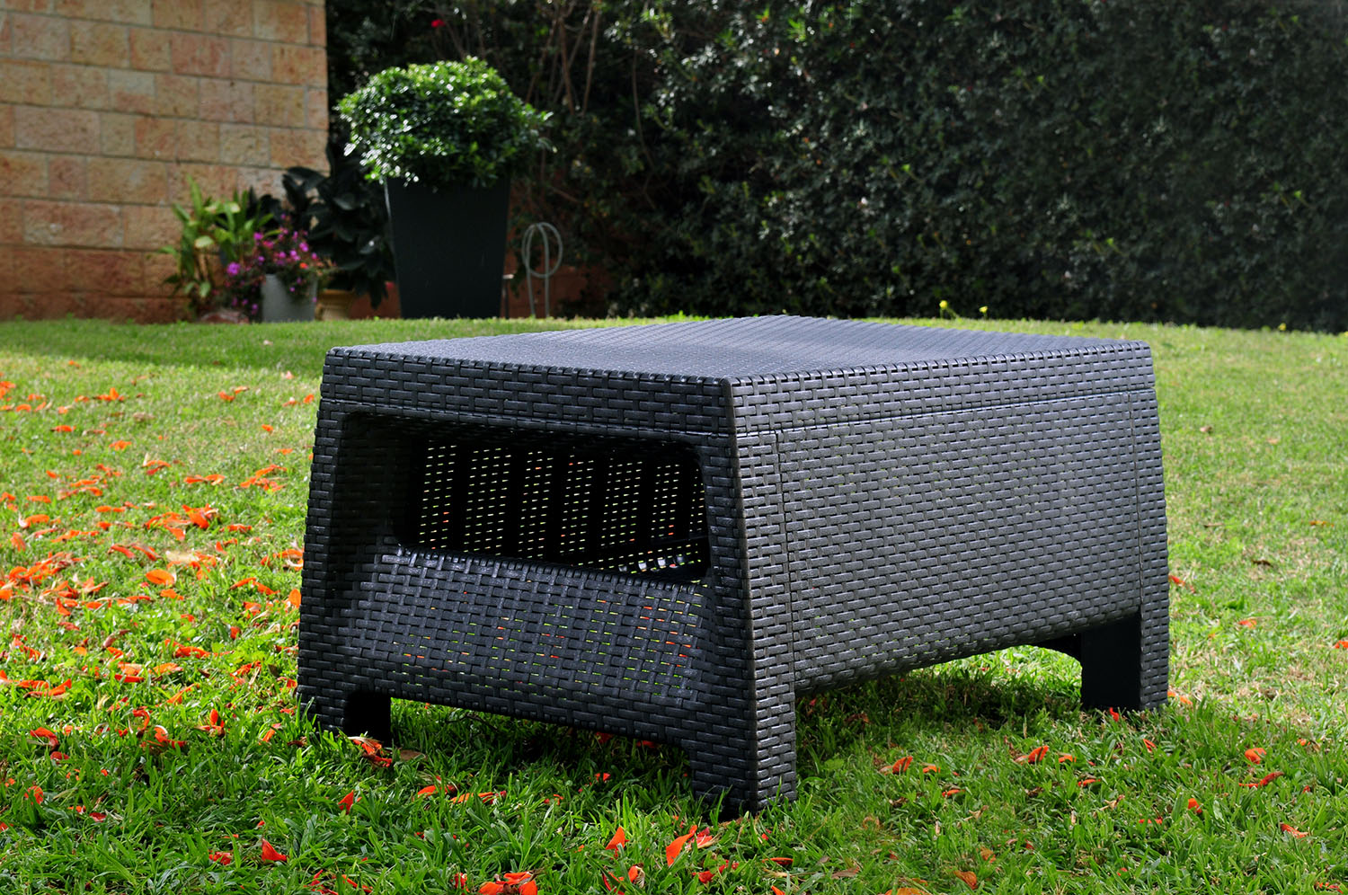 keter corfu resin coffee table all weather plastic patio furniture charcoal gray rattan image
